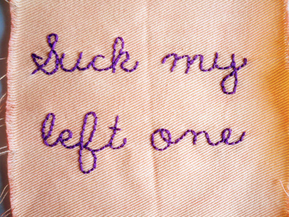suck my left one embroidered patch by nastynasty on etsy