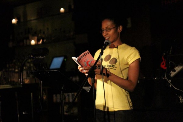 Essence Revealed, a Pros(e) contributor, reading from her selection. Photo by David Kornfield, courtesy of the Red Umbrella Project.