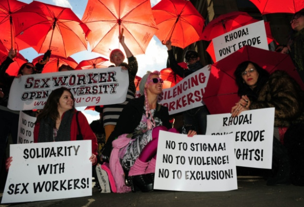 Campaigners demonstrate to call for the decriminalization of prostitution in Scotland (Picture by Ian Rutherford, courtesy of the Scotsman,com)