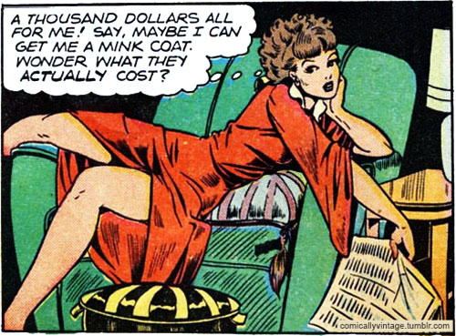 Dear Rhoda Grant, Stop trying to rescue us from cash-money, thanks. (Image via Comically Vintage)