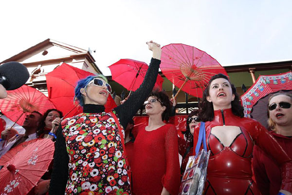 Sex workers rally at Parliament House in Sydney on June 2nd to support decriminalization and to commemorate International Sex Workers' Day. International Sex Workers' Day, or International Whore's Day (Photo courtesy of the Australian)