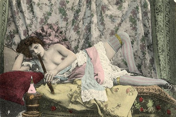 19th century French postcard depicting an unidentified nude woman smoking opium—one of our hard drug using, sex working foremothers. (Courtesy of peachridgeglass.com)