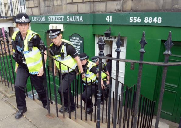 A prostitution raid on an Edinburgh sauna (Photo by Phil Wilkinson, courtesy of the Edinburgh News)