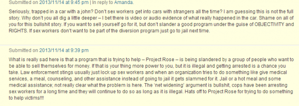 Comments we received yesterday on our post about SWOP-Phoenix's campaign against Project Rose's diversion initiative (screenshot)