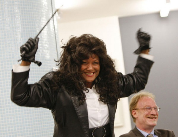 Behold that jubilant smile, and that everpresent, oh-so-stylin' riding crop. Terri Jean Bedford is a woman who knew she was going to win. Along with the two other sex worker plaintiffs of Bedford v. Canada, Amy Lebovitch and Valerie Scott, Bedford won the day today when the Canadian Supreme Court struck down Canada's anti-prostitution laws. Looks like Canadian sex workers have a lot of decriminalized whipping to do. (Photo by Jack Boland/QMI Agency Files, via northumberlandtoday.com)
