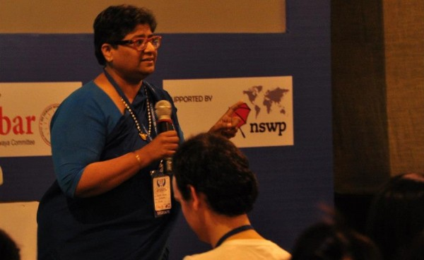 Meena Seshu speaking at the Sex Worker Freedom Festival in 2012 (photo by Dale Bangkok, courtesy of Asia Pacific Network of Sex Workers)