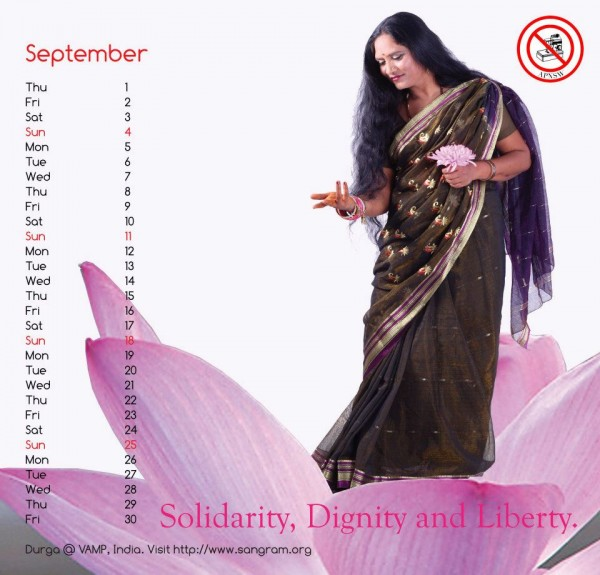 VAMP member Durga in the Asia Pacific Network of Sex Workers 2011 calendar (image by Dale Bangkok, courtesy of Asia Pacific Network of Sex Workers)
