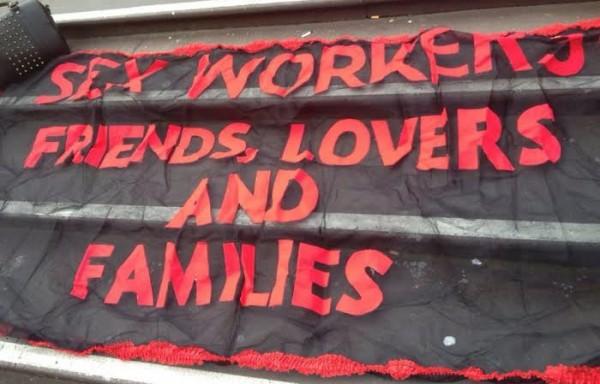 A close up of one of the banners used at the Red Umbrella Rally, Festival of Sex Work, Melbourne 2013 (courtesy of VIXEN Archives)