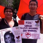Colleen Cardinal of Families Of Sisters In Spirit with her son at the Supreme Court of Canada on the day Bedford v Canada was being heard. (Photo courtesy of Family of Sisters in Spirit)