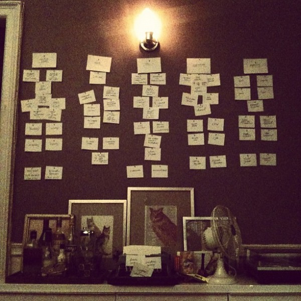 Melissa goes low tech--sort of. An outline of _Playing the Whore_ on note cards. (Photo by Melissa)