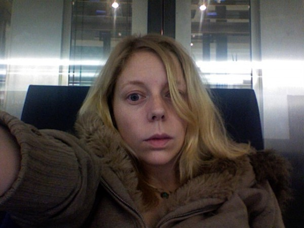 The roving reporter takes a selfie at an airport in Dubai in 2009 (Photo by Melissa)
