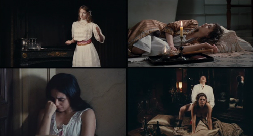 In one of the film's signature four screen shots, Samira reads a whorephobic book lent to her by a client, Clothilde goes on an opium binge, and two other workers are in session (Screenshot from House of Pleasures)