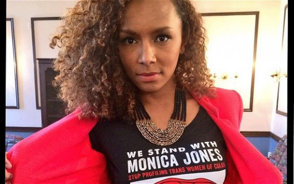 Celebrated trans author and ex-sex worker Janet Mock shows her support for Monica Jones. (Photo via the Telegraph)