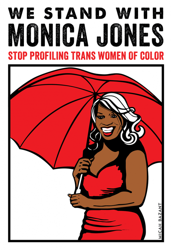Monica Jones' case is the perfect example of the whorephobia prevalent in social work—as well as the hope that student sex workers studying in social work schools bring to the profession (Art by Micah Bazant, via SWOP-Phoenix's website)