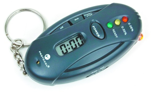 A portable keychain breathalyzer, another handy dandy device for the sybarite on the go. (Photo via Boise Weekly)