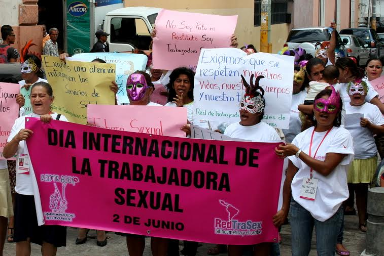 A march organized by Honduran sex workers' rights organization RedTraSex Honduras (Photo via upsidedownworld.org)