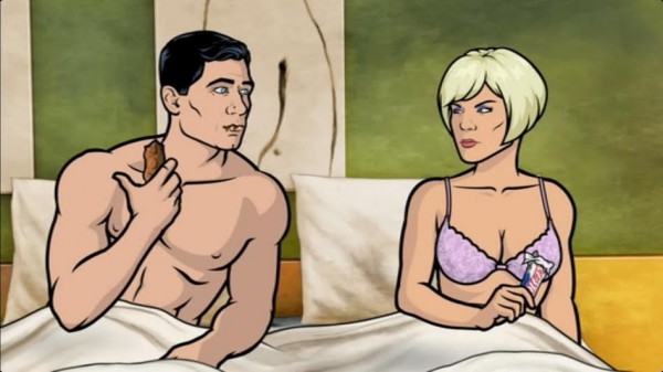 The Snickers wrapper as condom joke—the look she's giving him almost makes up for how awful this gag is. (Screenshot from Archer)
