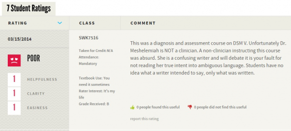 Dr. Mishelemiah's latest rating by an OSU student who didn't appreciate being taught clinical skills by a non-clinician on RateMyProfessors.com