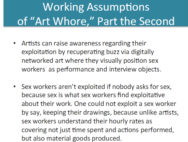 "Longtime sex worker ally academic Theresa Senft examines the assumptions behind 'Art Whore' in ""Digital Labot & Sex Work: Let's Set Some Research Agendas."" (Screenshot of Senft's project via academia.edu, courtesy of Theresa Senft)"