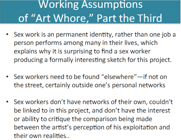 "More from Theresa Senft on the assumptions behind 'Art Whore,' from ""Digital Labor & Sex Work: Let's Set Some Research Agendas."" (Screenshot of Senft's project via academia.edu, courtesy of Theresa Senft)"