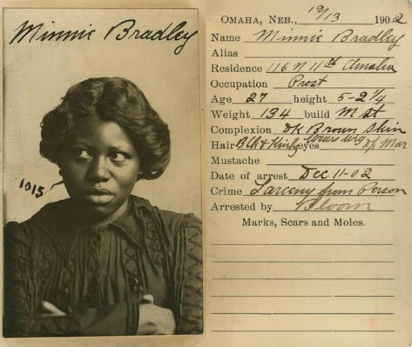 Minnie Bradley, a an Omaha sex worker who refused to look at the camera in her 1902 mug shot. (Via Nebraska State Historical Society)