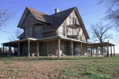 The Hog Ranch, built in 1900, was a gambling house and house of ill fame on the Pottawattamie-Mills county line. During raids, sex workers and gamblers simply moved to the other side of the house, which was in a different county and susceptible to different laws. (Photo via realtor.com—it's currently for sale)