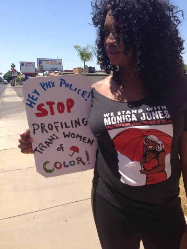 Monica at a protest last May. (Photo via SWOP Phoenix Facebook page, courtesy of Jones and SWOP Phoenix)