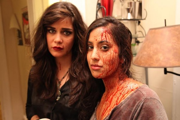 Manini Gupta with her costar Ruthellen Cheney on the set of Small Talk. (Photo courtesy of Nicole Witte Solomon)