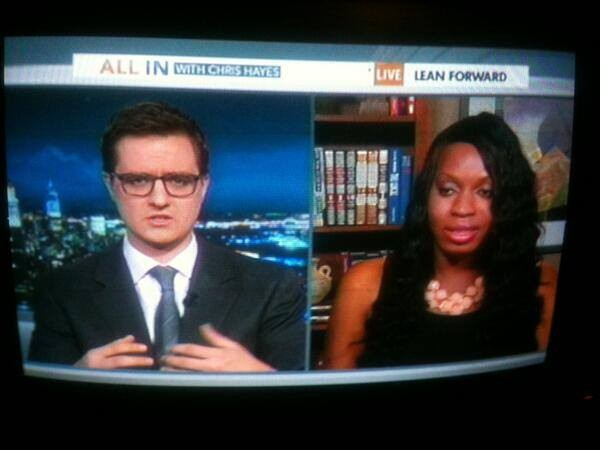 Jones on NBC with Chris Hayes in March. (Photo via the Support Monica Jones' Facebook, courtesy of Monica Jones.)