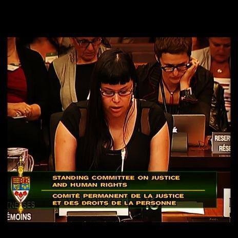 The author testifying against C-36. (Photo courtesy of Naomi Sayers.)