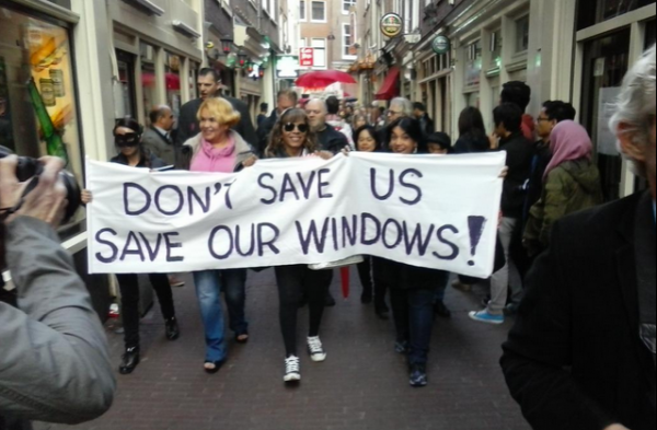 The Amsterdam window protest. (Photo via Yvette Luhrs)