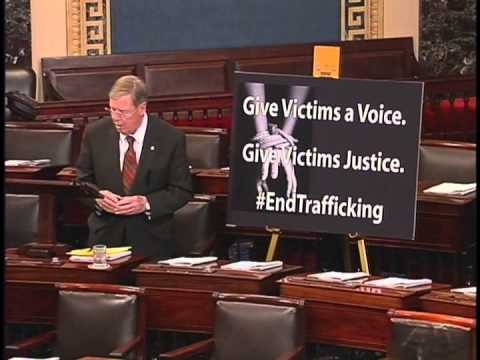 Republican Senator John Isakson urges the Senate to pass the Justice for Victims of Trafficking Act in March. (Screenshot of Youtube video released by Isaskson)
