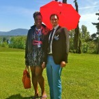 Monica Jones and Derek Demeri in the United Nations Gardens in Geneva. (Photo by Derek Demeri, courtesy of Penelope Saunders and Derek Demeri)