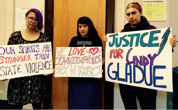 Left to right: Toni Letendre, Erin Marie Konsmo, Kirsten Lindquist at a Justice for Cindy Gladue Rally in Edmonton, Alberta (Photo via Ariel Smith)