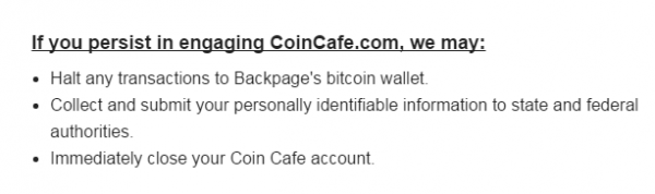 The ending to Coincafe's message to sex workers. (Screenshot from Coincafe)