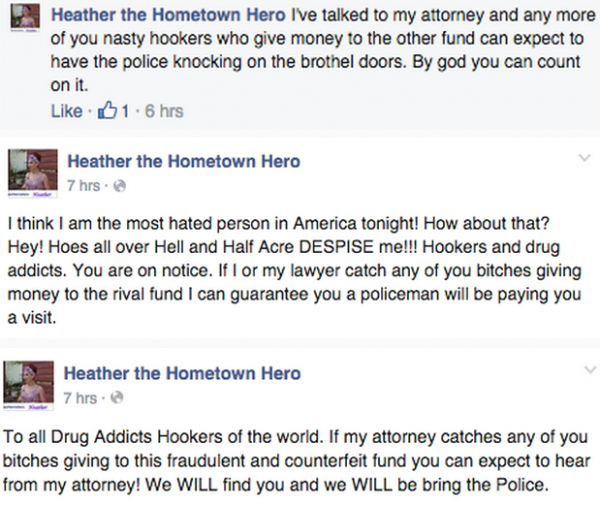 Screenshots of Nostra-Thomas Koenig's (aka Charles de Koenig) vitriolic outburst against sex workers on his fundraiser for Heather's Facebook page. (Courtesy of portlandvalentine's Tumblr)