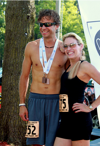 Suzy Favor-Hamilton presenting awards at the 2012 Run, Bike, Unite Duathlon in Steven's Point, WI. (Photo by Flickr user GreggMP)