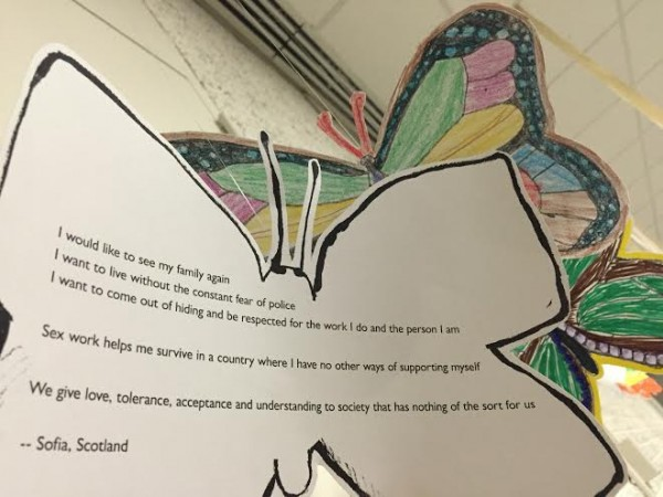 Testimony of a migrant sex worker recorded by Toronto Asian migrant sex worker organization Butterfly. (Photo courtesy of MSWP)