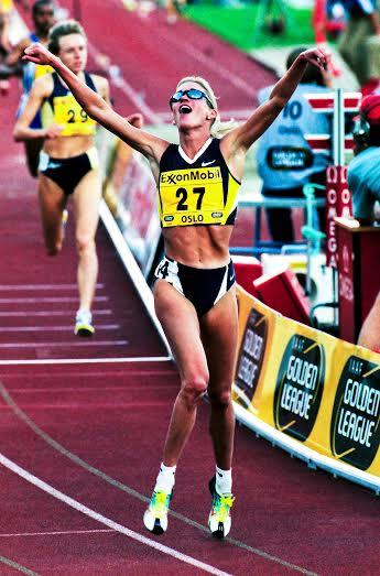 Favor Hamilton at the finish line of a 1500 meter race. (Courtesy of Favor Hamilton)