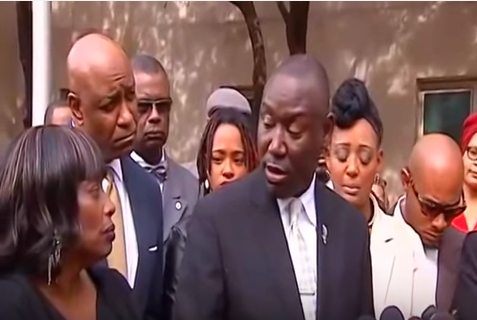 Jamie Ligons stands with other Holtzclaw victims and supporters at a press conference after the trial. (Screenshot from PBS Satellite video)