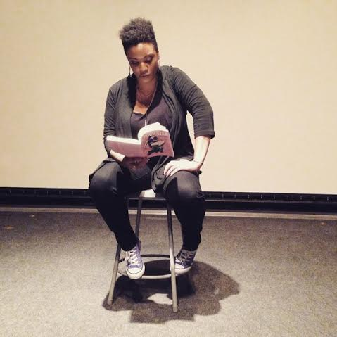 Betty Blac reading her piece at California College of The Arts this month. (Photo by Jiz Lee.)