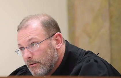 "Kent County Circuit Judge George ""Jay"" Quist sentencing Clay. (Screenshot from MLive video of the sentencing.)"