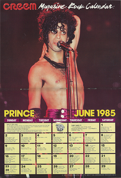Prince centerfold calendar spread from Creem Magazine