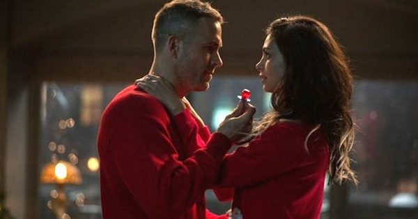 Wade Wilson (Ryan Reynolds) proposing to his sex worker girlfriend Vanessa Carslyle (Morena Baccarin) in Deadpool.
